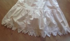 Check out FREE SHIPPING White Cotton French Broiderie Anglaise Vintage Petticoat with Scalloped Hem. Wear it as a  sundress. 1920s size 32 inches. on fleursenfrance