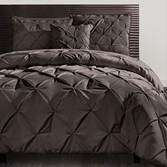 4 Pc Brown Pinch Pleat Comforter Set Bed in a Bag Queen Size Bedding By Karalai Bedding Collection ** Click on the image for additional details.