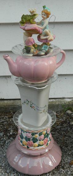 Fairy Garden Totem – because it has a teapot in it :) - Garden Ideas - DIY