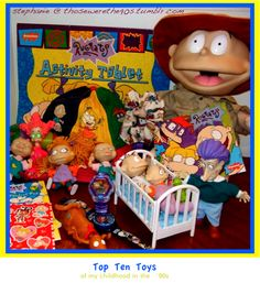 Rugrats merchandise me and my siblings had the Stu, Didi, Angelica, Tommy, and Phil dolls