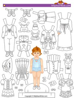 Paper doll printable to use as felt pattern