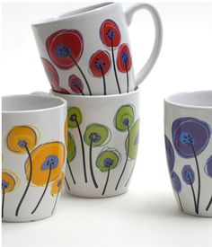 pottery painting designs krisruffdesign is an independent artist creating amazing designs for great products such as t-shirts, stickers, posters, and phone cases. Ceramic Clay, Ceramic Painting, Ceramic Pottery, Painted Coffee Mugs, Painted Cups, Pottery Painting Designs, Pottery Designs, Sharpie Mug Designs, Pebeo Porcelaine 150