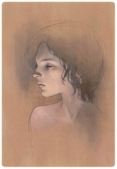 Dreamer - by Audrey Kawasaki  Oil and graphite on wood 7x9.5  'Mayoi Michi' @ Copro Nason Gallery  2008