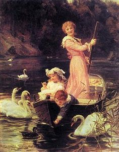 """A Day On The River"" -- Frederick Morgan (1847--1927) British; This image is the best balance I've found of the many varying colorations out there. BTW, Artnet calls this image ""The Home of the Swans."""