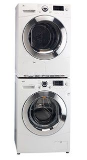 LG Stackable / Side By Side Washer WM1355HW and Ventless Condenser Dryer DLEC855W