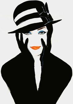 Illustration Vintage de René Gruau - Femme au Chapeau Noir et Blanc