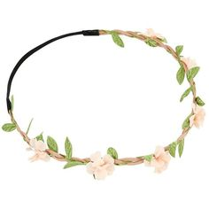 Pink Flower Suedette Plait Hair Garland (£3.99) ❤ liked on Polyvore featuring accessories, hair accessories, headband, flower hair accessories, pink flower crown, pink flower hair accessories, pink hair accessories and floral crown