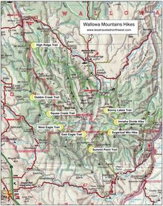 Location Map of Wallowa Mountains Hikes