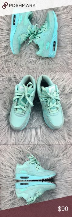 NIKE ID Air Max 90 in Tiffany Blue Excellent pre loved condition, you'll stand out in this rare colorway. A classic sneaker with a twist! Women's size 6.5 Nike Shoes Sneakers