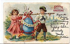 Vintage Easter Postcard Easter Egg Blue Egg Boy by TheIDconnection, $8.00