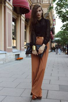 retro flava, 70's inspired, wide legged pants, sheer top, fashion, steet style, clutch, wooden platforms