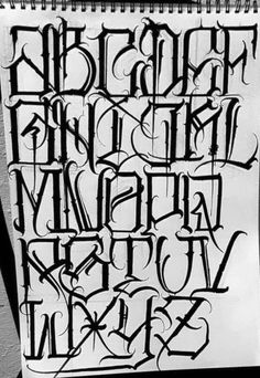 Chicano Tattoos Lettering, Tattoo Lettering Alphabet, Tattoo Lettering Design, Gothic Lettering, Lettering Guide, Graffiti Lettering Fonts, Tattoo Lettering Fonts, Graffiti Text, Graffiti Alphabet