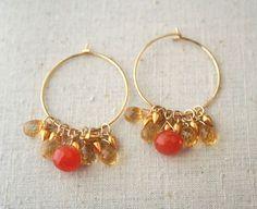 Carnelian Hoop Earrings, Citrine, Gemstone Jewelry