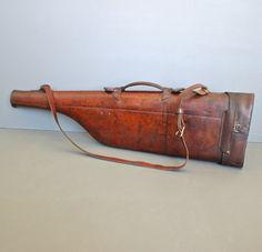 Antique Leg of Mutton Hard Leather Shotgun Case by FanshaweBlaine