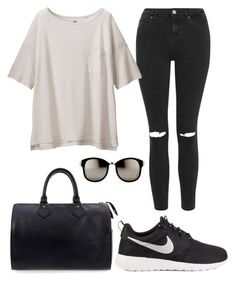 """How to wear Nike"" by cassienogueron on Polyvore featuring Topshop, Uniqlo, Linda Farrow, Louis Vuitton, NIKE, women's clothing, women's fashion, women, female and woman"