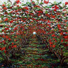 "Cherry Grove / 48x48"" / painting / mixed media"