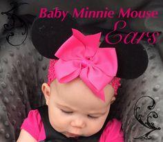 DIY Baby Minnie Mouse Ears tutorial | Paper Flowers & Mud Pies  Baby girl Disney! Disneyland headband little girl pink hair bow DIY do it yourself handmade Mickey Mouse ears!