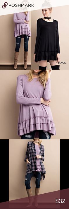 ☀️NEW☀️ Double Ruffle Hemline Top Long sleeves. Ruffle hemline. 95% rayon, 5% spandex. Made in U.S.A.. As with all merchandise, seller not responsible for fit nor comfort. Brand new boutique retail w/o tag. No trades, no off App transactions. PRICE IS FOR ONE TOP IN ONE COLOR  ❗️PRICE IS FIRM UNLESS BUNDLED❗️ Leoninus Tops