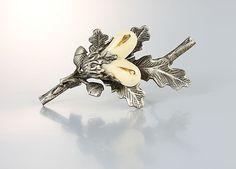 Acorn Brooch, Bone Silver Oak Leaf vintage fall jewelry