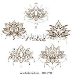 Filigree lotus flower, vector handdrawn illustration
