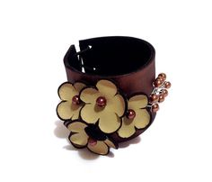 Fashion woman leather bracelet with flowers Leather by julishland, $24.00