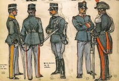 """Italy 1905-14 24 .- Captain of the 9th Regiment of Lancers, service. 25 .- Lieutenant infantry uniform service. 26 .- Lieutenant of the 16th Cavalry Regiment, service uniform with the warrior campaign. 27 .- Soldier of the Grenadiers of Sardinia, service uniform. 28 .- Soldier Mounted Squadron of the """"Carabinieri"""" dismantled uniform service."""