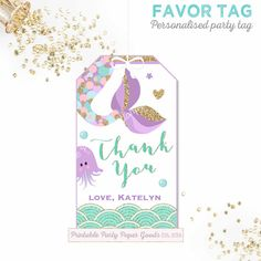 Mermaid Favor Tag Mermaid Birthday Party by PixelPerfectionParty