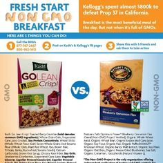 Go lean, but leave the GMO's out of your breakfast! Tell Kashi to make a fresh start by removing all GMO ingredients from their products! http://www.facebook.com/GmoInside
