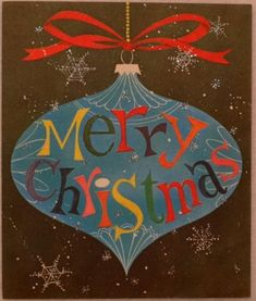 #1791 60s Mid Century Glittered Tree Ornament-Vintage Christmas Card-Greeting