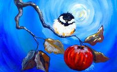 Happy Chickadee and apple branch Beginner Step by Step Acrylic tutorial ...