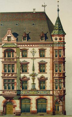 """Circa 1890 lithograph of architectural details. Published by Ernst Wasmuth, Berlin. Unframed, some age toning, edge wear, and spots. 12.5"""" L x 19"""" H"""