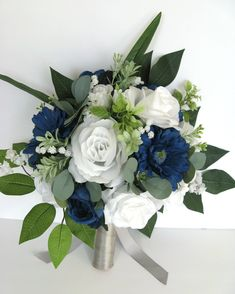 If You Need Different Quantities, Different Colors or Matching Decoration Items Please Contact Us for a Custom Quote. This listing is for a 17 piece package including: 1 Bride's Round bouquet Navy Wedding Flowers, Wedding Flower Arrangements, Flower Bouquet Wedding, Wedding Centerpieces, Floral Arrangements, Gray And Navy Blue Wedding, Flower Bouquets, Wedding White, Purple Wedding