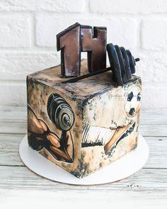Chocolate Birthday Cake Decoration, Birthday Cake Decorating, Adult Birthday Cakes, Happy Birthday Cakes, Masculine Cake, Fitness Cake, Sports Themed Cakes, Hand Painted Cakes, Basic Cake