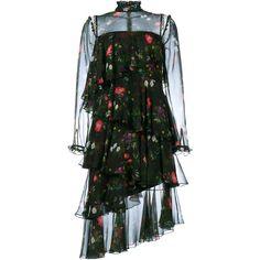 Erdem Roselle Floral Long Sleeve Dress ($3,200) ❤ liked on Polyvore featuring dresses, black, silk slip, longsleeve dress, slip dress, flower print dress and silk dress