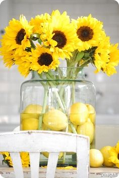 Lemons and sunflowers. Bright, happy, vibrant centerpiece.