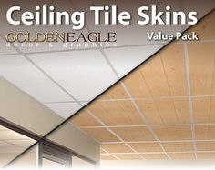 Ceiling Tile Skin Glue up Wide White Washed by GoldenEagleOnline