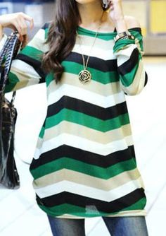 c1331a61736 Shop Women s size one size Tops at a discounted price at Poshmark.  Description  Long sleeve color block round collar striped casual cotton  blend t shirt.