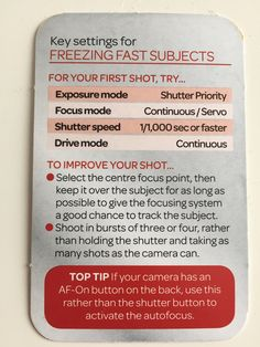 Action Key settings for freezing fast subjects