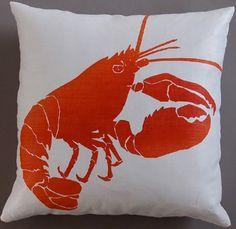 Dermond Peterson Lobster Red Pillow: Coastal Home Decor, Nautical Decor, Tropical Island Decor & Beach Furnishings