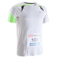 Tee shirt de running homme porte dossard blanc kiprun kalenji 2880e80d647