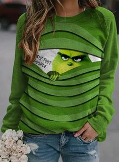 grinch1105 – bensee Blouse Ample, Pullover, Printed Sweatshirts, Women's Sweatshirts, Sweat Shirt, Tunic Shirt, Ugly Christmas Sweater, Christmas Shirts, Cute Outfits