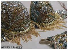 Burlesque costume tear away cup bra set panty by Glorious Pasties, $610.00