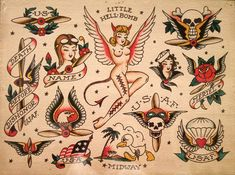 Anyone who started learning how to tattoo, most likely referred to Sailor Jerry tattoos and his vintage flash designs. Traditional Tattoo Old School, Traditional Tattoo Design, Traditional Tattoo Flash, Sailor Jerry Flash, Old School Ink, Tatoo Henna, Tattoo Ink, Sailor Jerry Tattoos, Old School Tattoo Designs