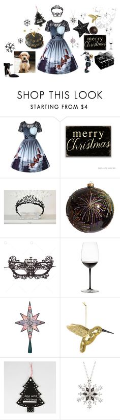 """Без названия #625"" by vualia ❤ liked on Polyvore featuring Jay Strongwater, Riedel, Kurt Adler, A by Amara, Ross-Simons, christmasparty, christmascostume and blackchristmasdecor"