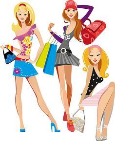 Chicas modernas de compras, imagen vectorial.