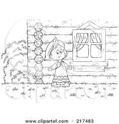 Royalty Free RF Clipart Illustration Of A Coloring Page Outline Girl