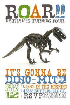 Dinosaur Birthday Invitation by MaryBobbinsBoutique on Etsy, $8.00