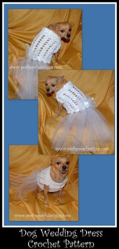 Posh Pooch Designs Dog Clothes: Dog Wedding Dress Crochet Pattern for sale on Craftsy, Etsy, and Ravelry
