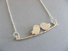 SHOP SALE Two Little Love Bird Necklace by DevinMichaels on Etsy, $17.00