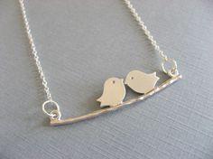 SHOP SALE Love Birds Necklace Silver Bird by DevinMichaels on Etsy, $17.00